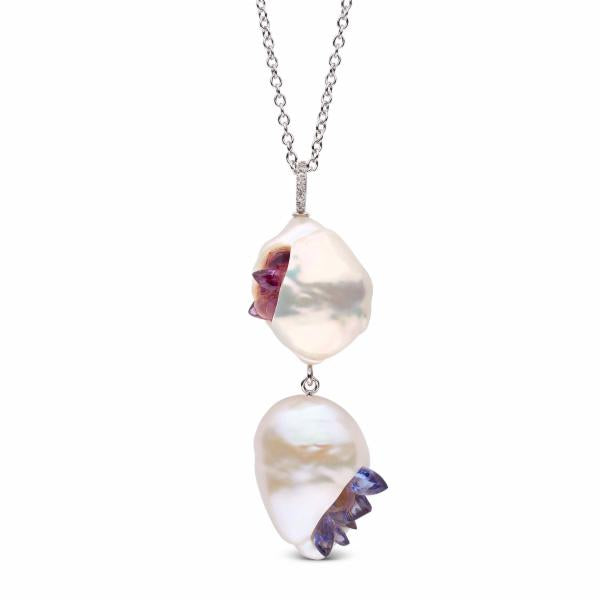 Freshwater Pearl Point Pendant with Amethysts and Tanzanites
