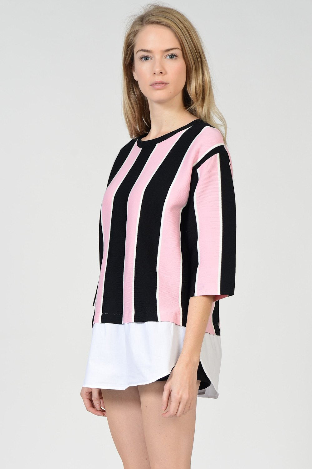 Pink X Black Vertical Stripes Knit Sweater