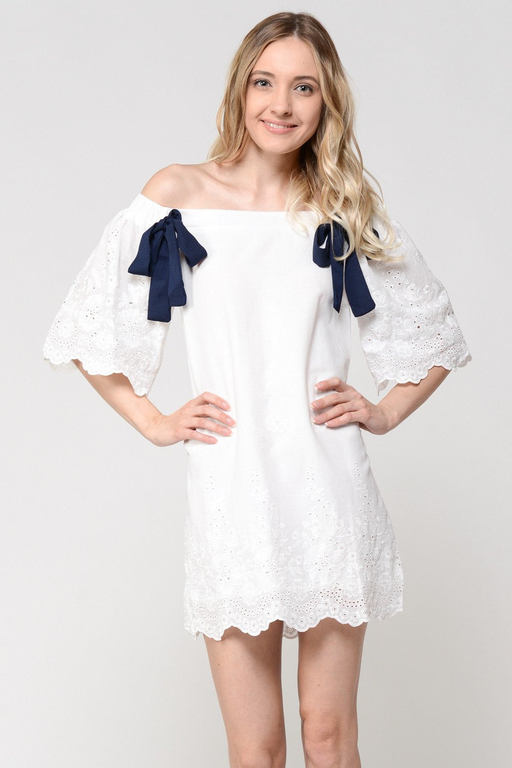 Duo Ribbon Off Shoulder White Floral Printed Dress