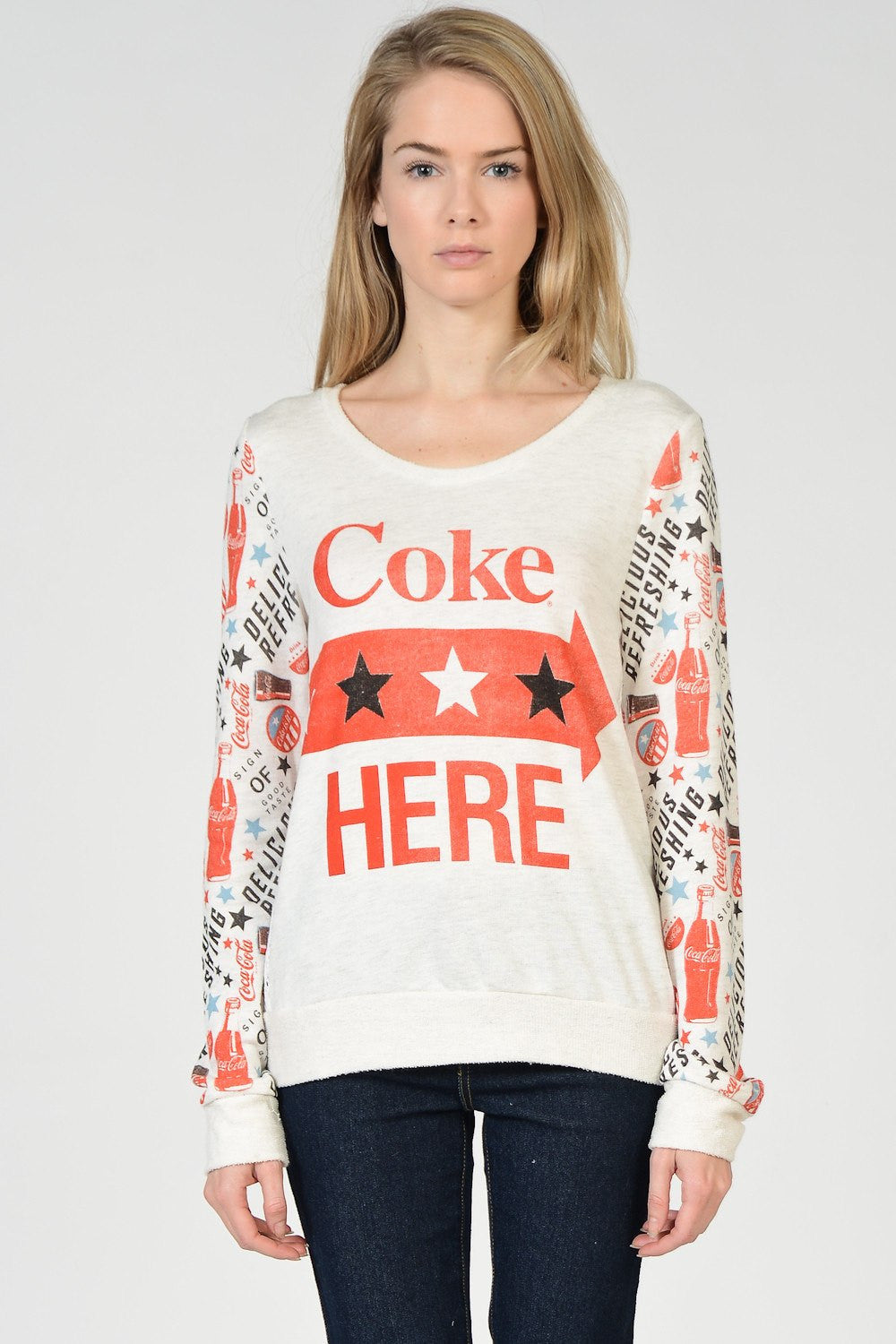 Coca Cola Mix Print Mesh Out Back Sweaters