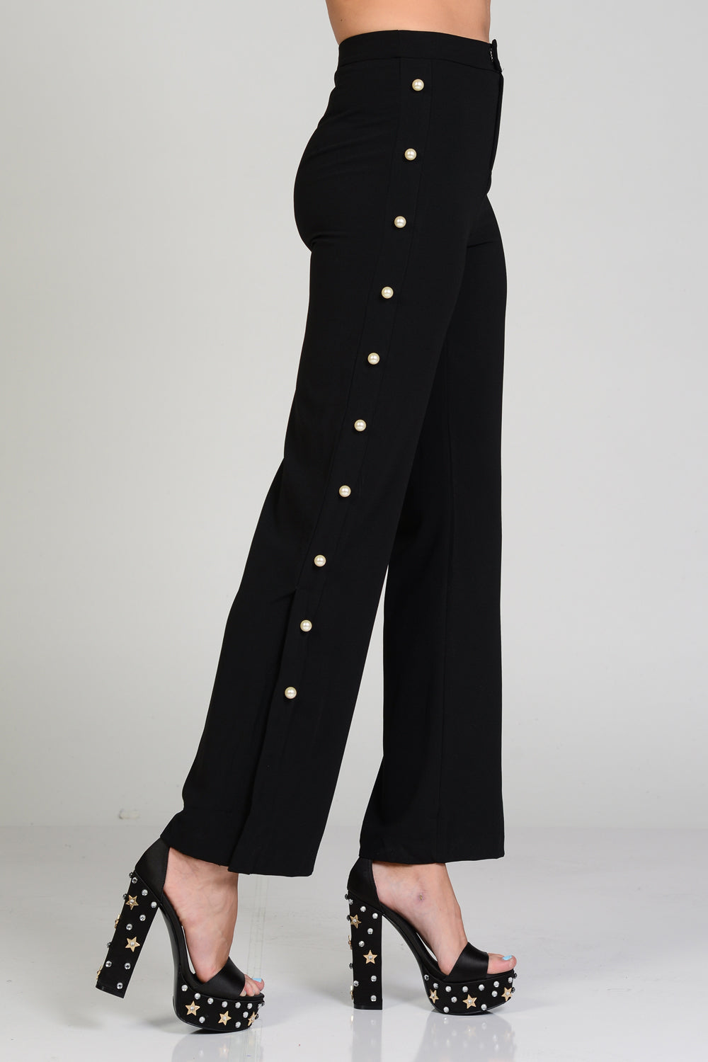 Side Pearl High Waisted Pants