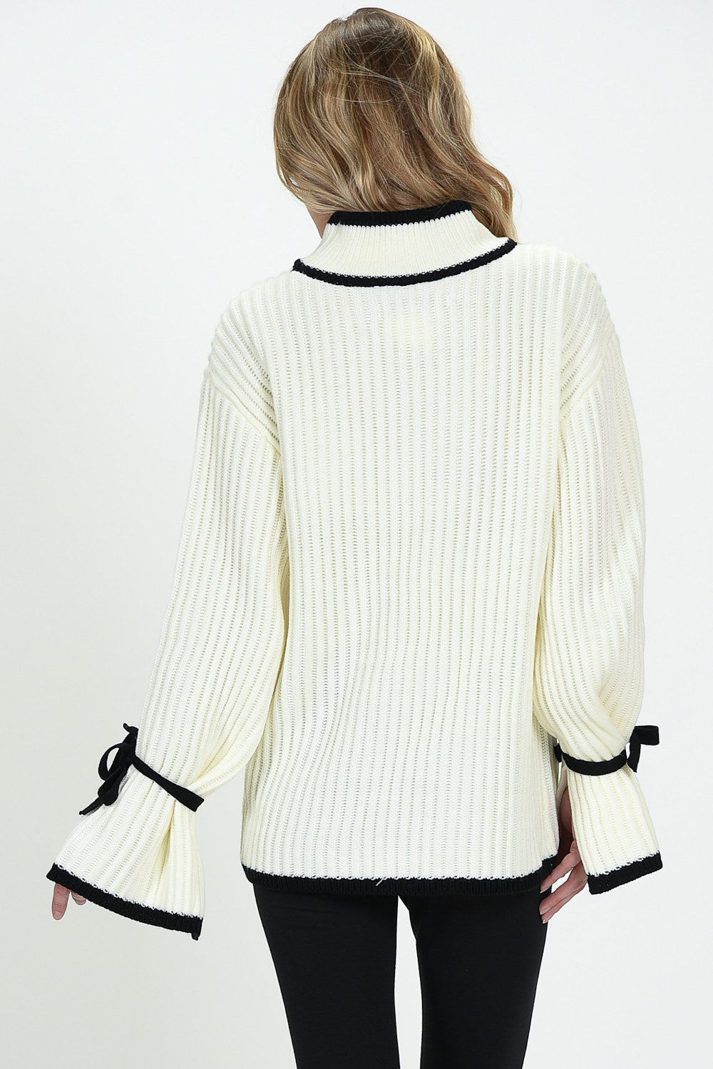 Knit Down Sweater With Tie Cuffs