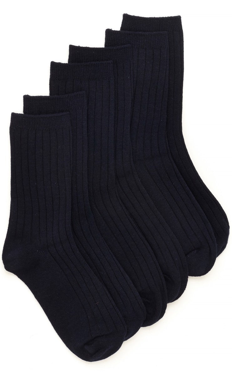Stride Rite Ribbed Crew Sock Navy (3 Pack) by Stride Rite - Ponseti's Shoes