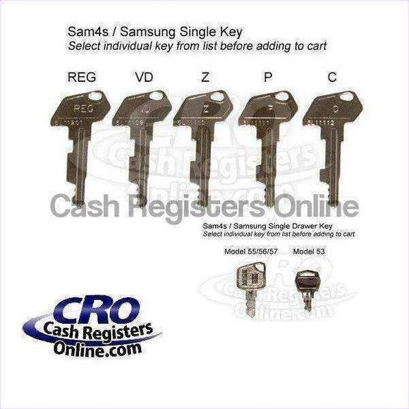SAM4s and Samsung Cash Register Keys - Single Key - Cash Registers Online