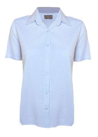 Camilla Seersucker Short Sleeve Velcro Shirt - White