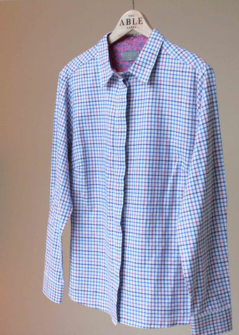 Charlie Pure Cotton Check Long Sleeve Velcro Shirt - Royal Blue: VAT Exempt
