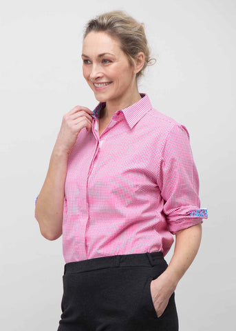 Charlie Pure Cotton Gingham Long Sleeve Velcro Shirt - Paradise Pink: VAT Exempt