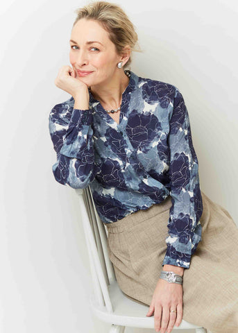 Cora Floral Print Viscose Long Sleeve Velcro Shirt - Storm Blue