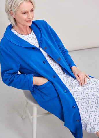 Diana Velcro Polar Fleece Dressing Gown - Med Blue
