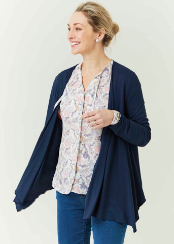 Molly Jersey Waterfall Cardigan - Shibori Navy