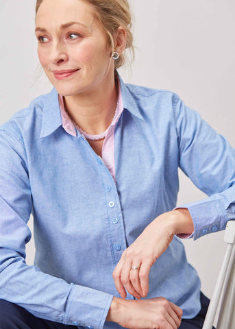 Olivia Pure Cotton Oxford Long Sleeve Velcro Shirt - Blue