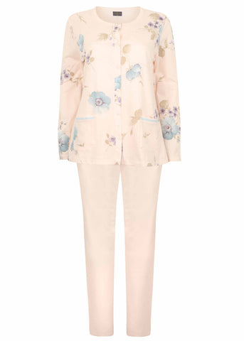 Pippa Floral Pure Cotton Long Sleeve Velcro PJ Set - Peach Floral