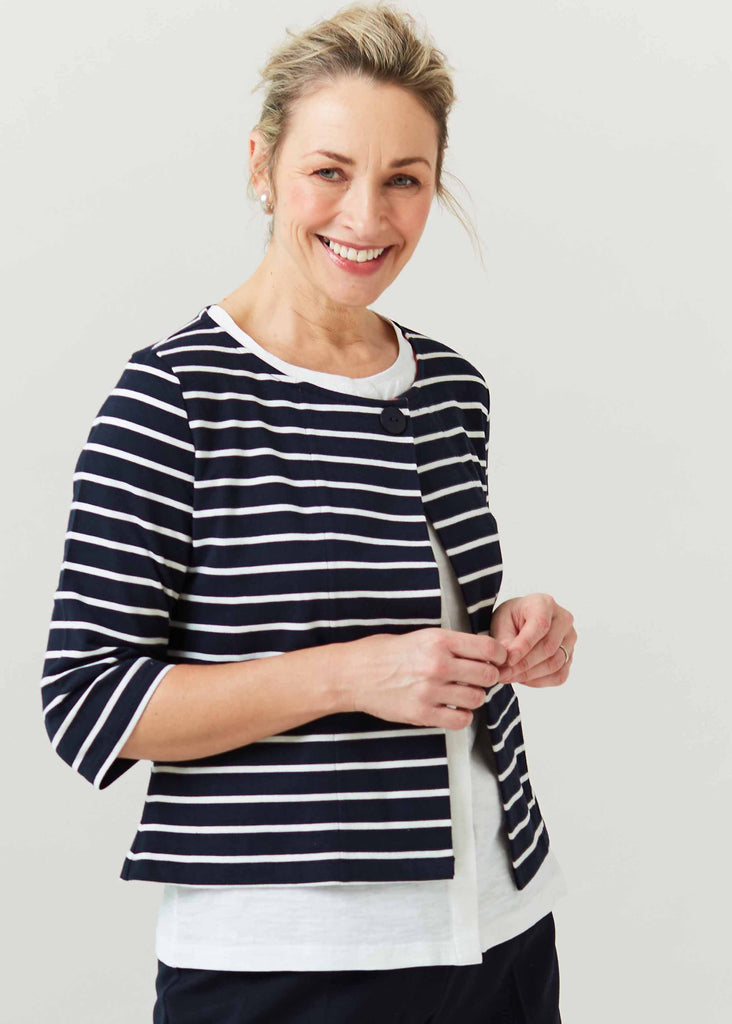 Sophie Pure Cotton Jersey 3/4 Sleeve Velcro Short Cardigan- Navy Stripe: VAT Exempt