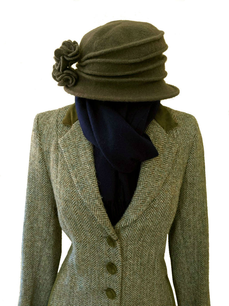 Olive Green Harris Tweed Coat for Women with Indigo Lambswool Scarf from Scotland