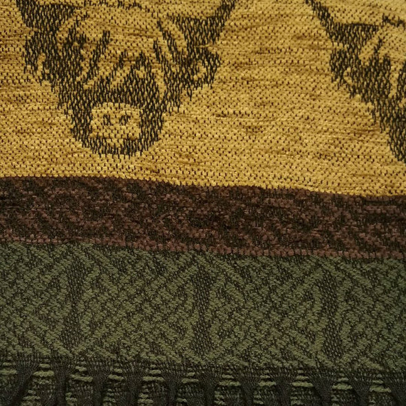 gold, burgundy, green & black wool & chenille scarf with highland cow design