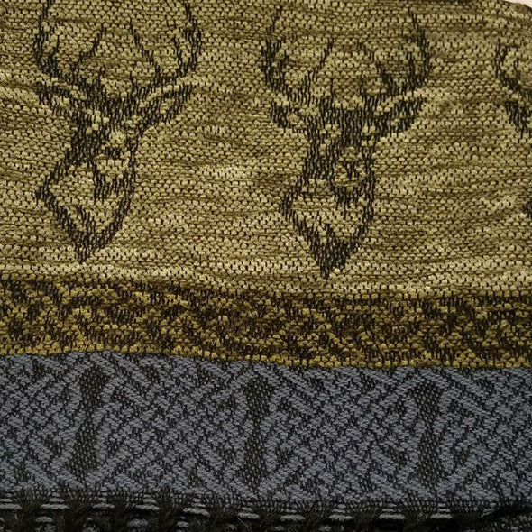 gold, black & grey wool & chenille scarf with stag design