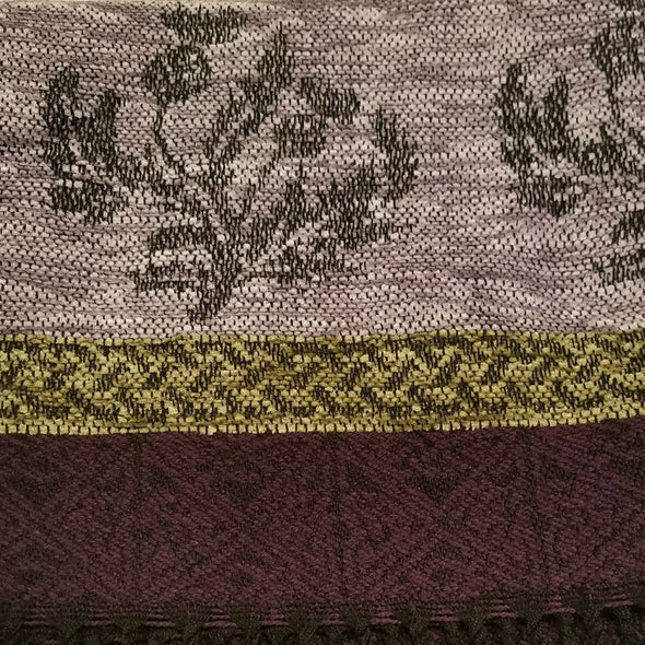 pink, purple, gold & black wool & chenille scarf with thistle design