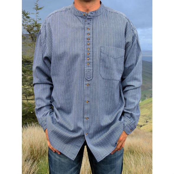 Irish grandfather shirt, cotton & linen, blue with vertical navy stripes