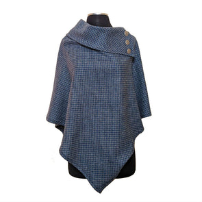 Tweed Poncho | Blue & Grey Houndstooth