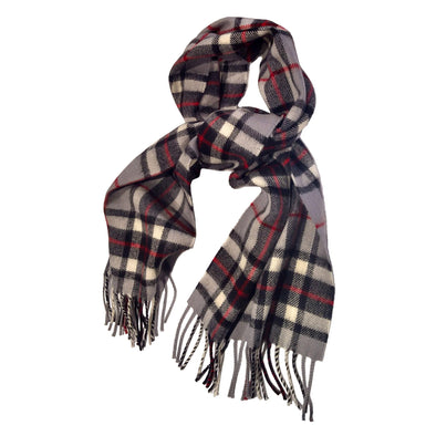 wool scarf in grey plaid, the Thomson grey tartan