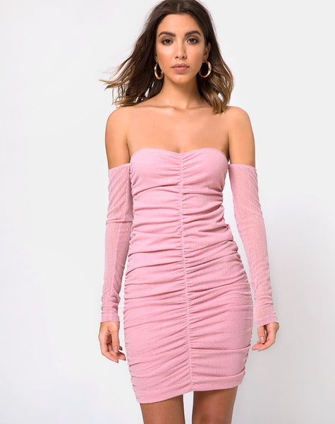 Azalea Off The Shoulder Dress in Sheer Knit Blush by Motel