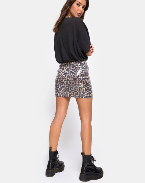 Cheri Split Mini Skirt in Leopard Clear Sequin by Motel