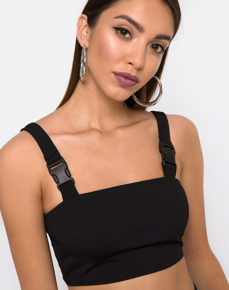 Kyga Crop Top in Black by Motel