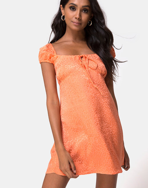 Gaval Dress in Satin Cheetah Coral by Motel