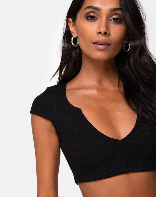 29482836d5d816 Guanna Crop Top in Rib Black by Motel