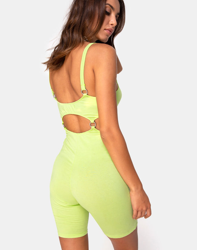 Jaso Cutout Unitard in Lime by Motel