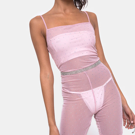 Solina Unitard in Crystal Net Rose by Motel