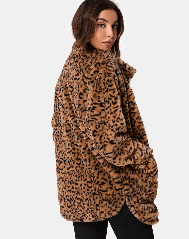 Teddy Bear Fur Coat in Brown Leopard by Motel