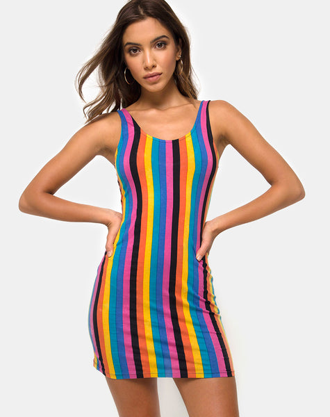 Uniper Bodycon Dress in New Vertical Mixed Stripe by Motel