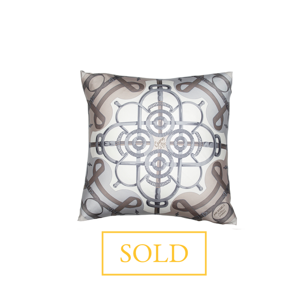 """Eperon d'Or"" Hermès Silk Scarf Pillow"