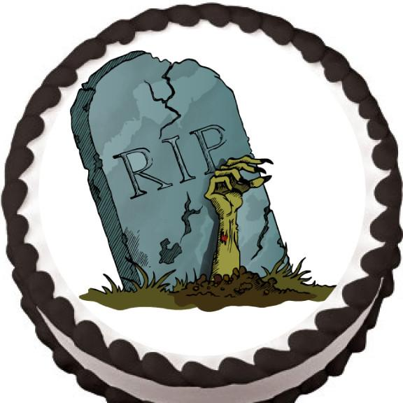 RIP Tombstone Halloween Edible Cake, Cupcake & Cookie Topper