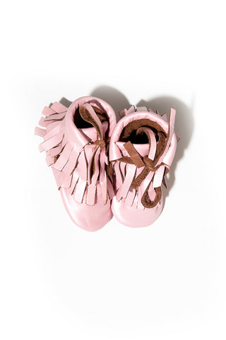 Nancy Pink Fringe Booties