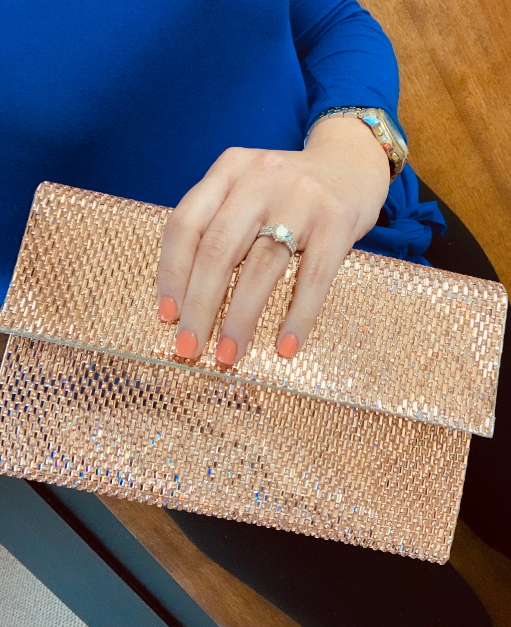 Rose Gold Rhinestone Clutch