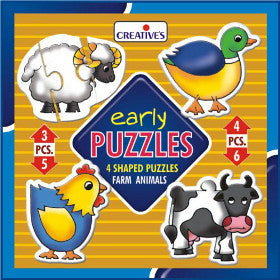 Creatives Puzzle Early Farm Animals 4 Puzzles 3,4,5,6pcs - K and K Creative Toys
