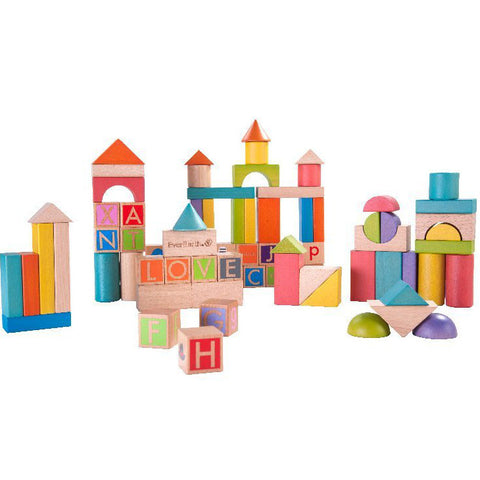 EverEarth Block Set Build & Learn Wooden 80pc - K and K Creative Toys