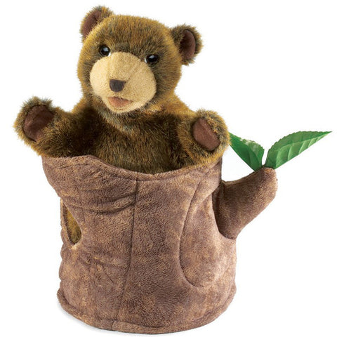 Folkmanis Hand Puppet Bear in Tree Stump