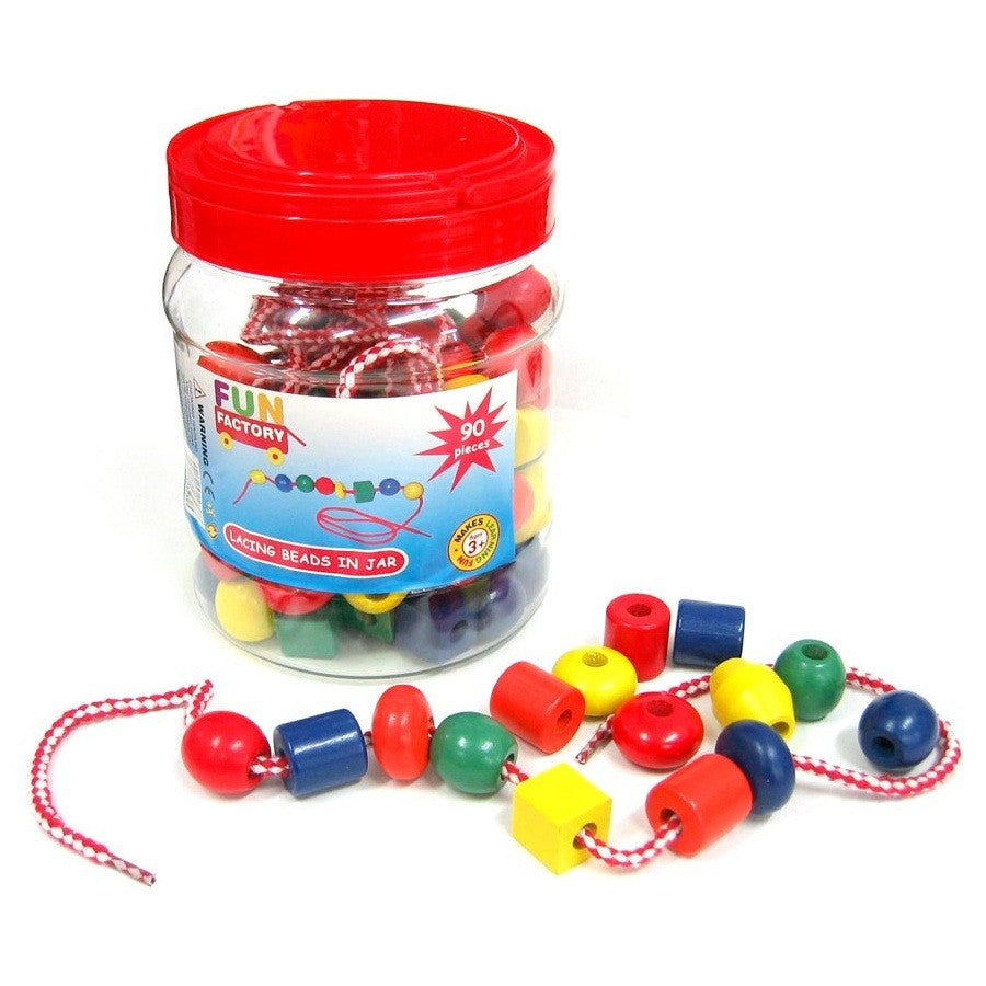 Fun Factory Lacing Beads Wooden in Tub 90pcs - K and K Creative Toys