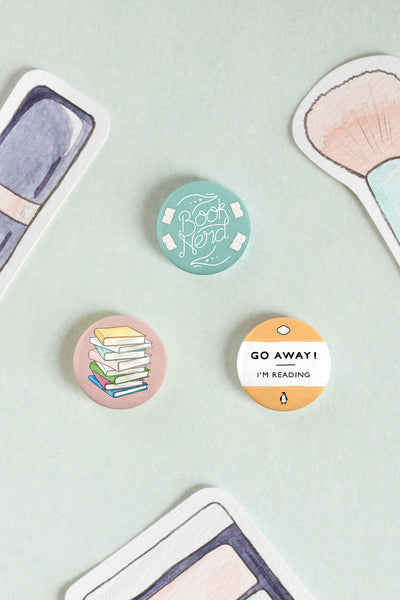 Book Nerd / Lover Pin-back Button Badges - A Rose Cast