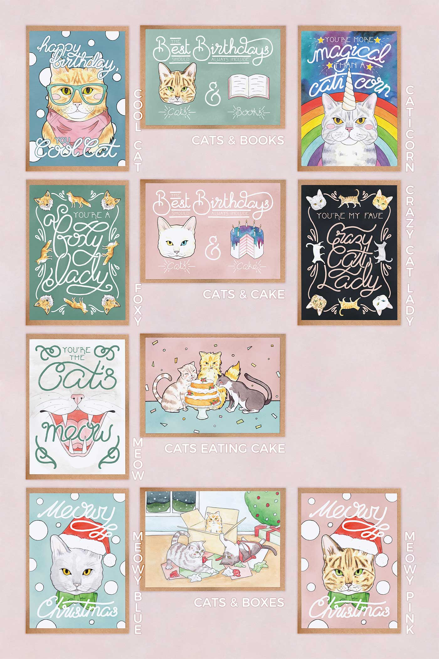 Crazy Cat Lady Greeting Cards Multipack // Choose Your Own Selection - A Rose Cast