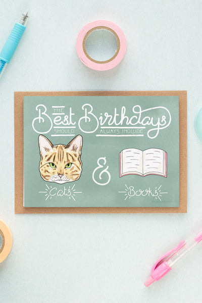 Best Birthdays Include Cats & Books Card - A Rose Cast