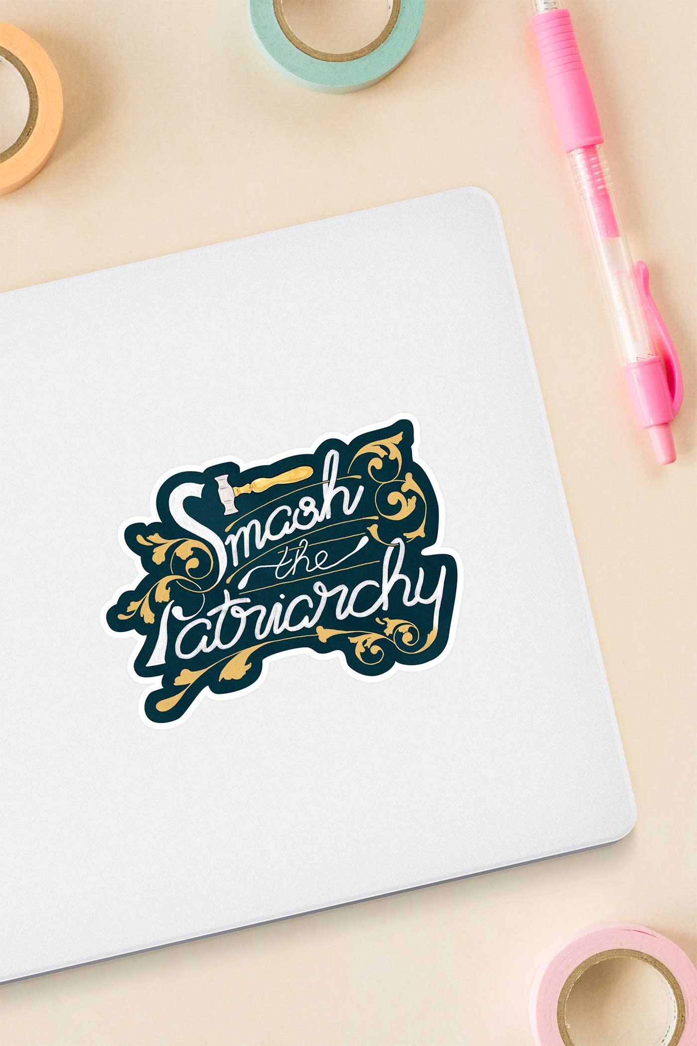 Smash the Patriarchy Feminist Vinyl Sticker - A Rose Cast