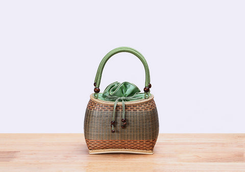 Mini Bamboo Wicker Handbag (Green)
