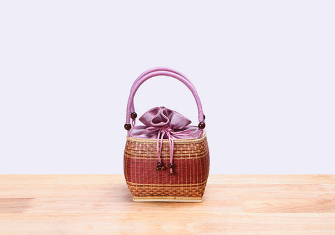 Mini Bamboo Wicker Square Handbag (Pink)