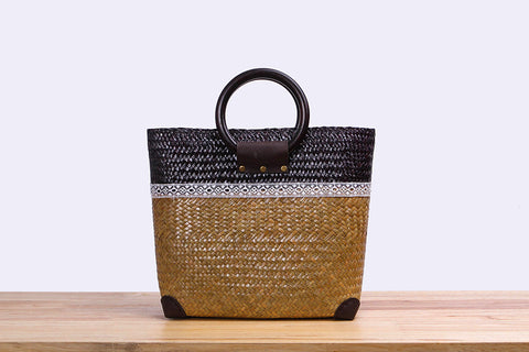Woven Seagrass bag (two-tones)