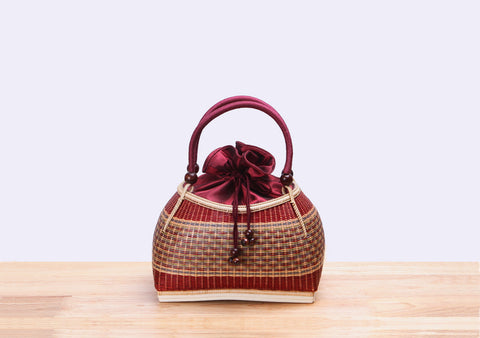 Mini Bamboo Wicker Handbag (Red)