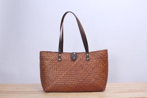 Short Wicker Tote bag (Light Brown)